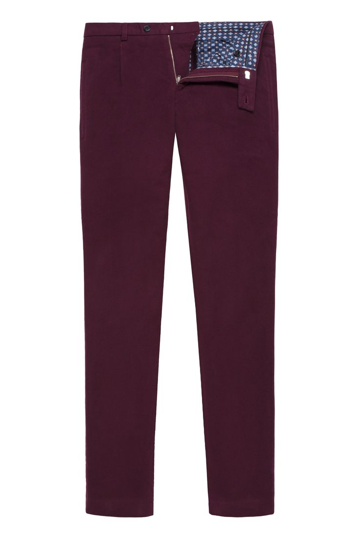Burgundy Moleskin Trousers, inner waistband, one front fold, belt loops, button and zipper closure, classic Slim fit