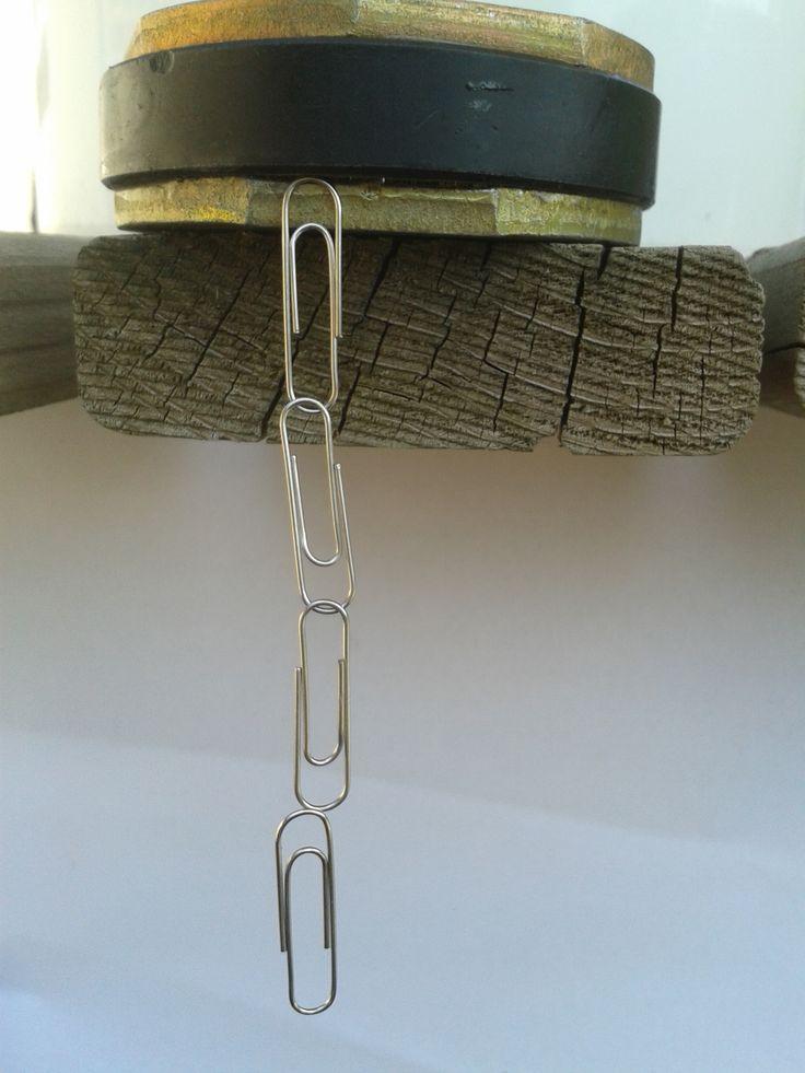 Met hoeveel paperclips kan je een slinger maken aan een magneet?