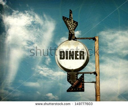aged and worn vintage photo of diner sign with arrow                                - stock photo
