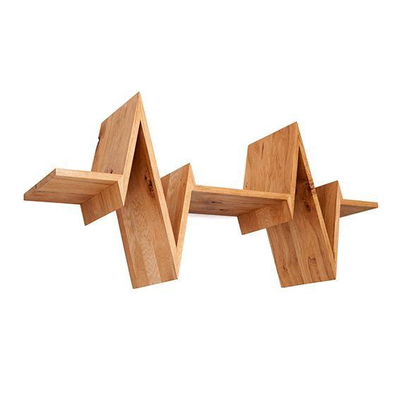 Oak shelf for books in the shape of a heartbeat: The Beat-shelf! Dutch Design by Van Tjalle en Jasper