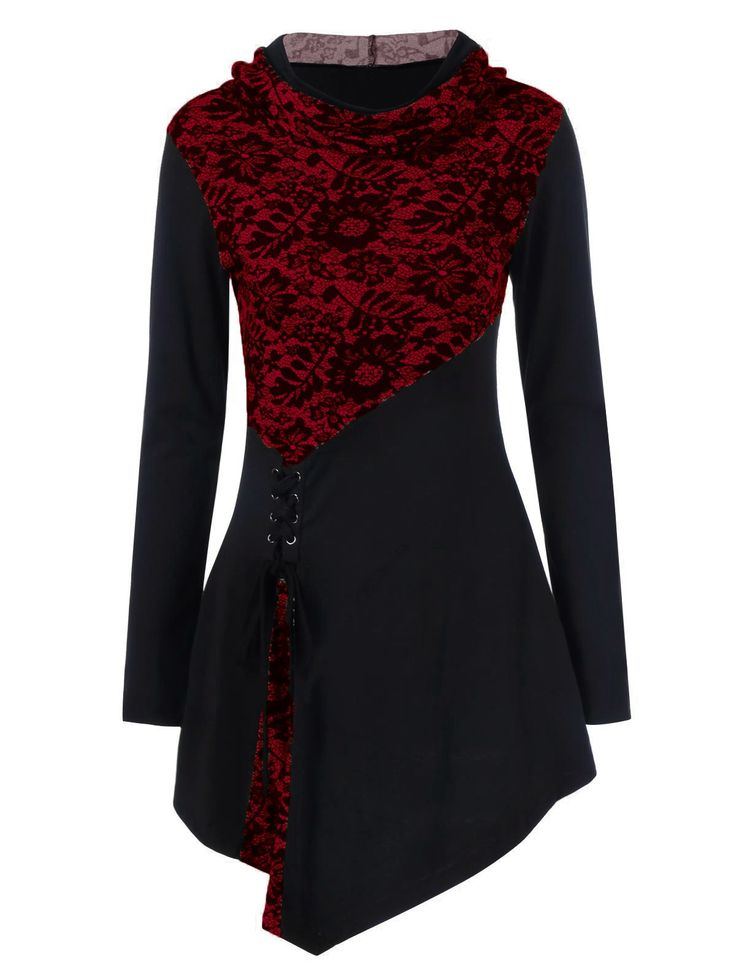 Lace-Up Hooded Asymmetrical T-Shirt in Cherry Red | Sammydress.com