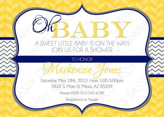Gender Neutral Baby Shower Invitation – Baby Neutral Invitation Yellow Navy Blue Gray Chevron Invite DIY Printable Invite PDF