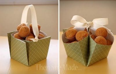 "take a 12"" square scrapbook page & turn it into a basket. Could use for chocolate night"