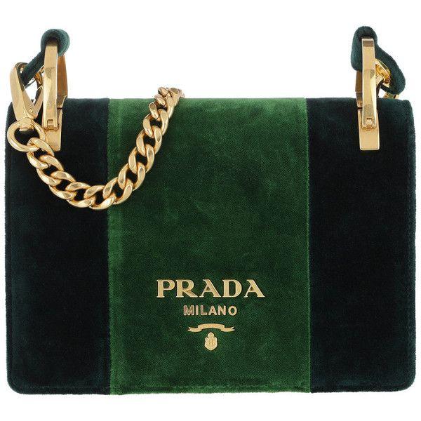 Prada Shoulder Bag - Velvet Shoulder Bag Smeraldo+Alloro - in green -... ($1,865) ❤ liked on Polyvore featuring bags, handbags, shoulder bags, green, woven tote, lined tote bag, prada purses, shoulder tote bags and tote purses