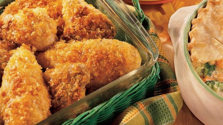 Crispy chicken ready in a little over an hour! Coated with mashed potato flakes mixture and baked to a perfect golden brown– a scrumptious chicken dinner!