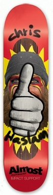 """NEW !!! Chris Haslam Thumbs-Up, Impact Support skateboard deck by Almost  8.1"""" x 31.90"""""""