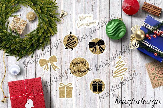 Christmas stickersGift stickersGold glitter stickersINSTANT