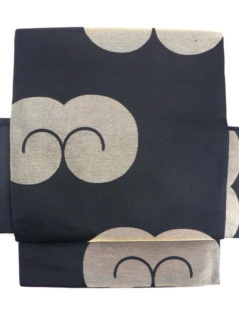 Black Zentsu Nagoya Obi, Gold Zuiun Clound Pattern / 黒地 瑞雲風金の雲柄 全通柄化繊名古屋帯