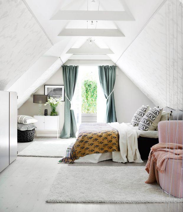 Scandinavian Home With Rustic Elements And Ocean Views Attic Master Bedroom Attic Bedroom Designs Attic Bedrooms