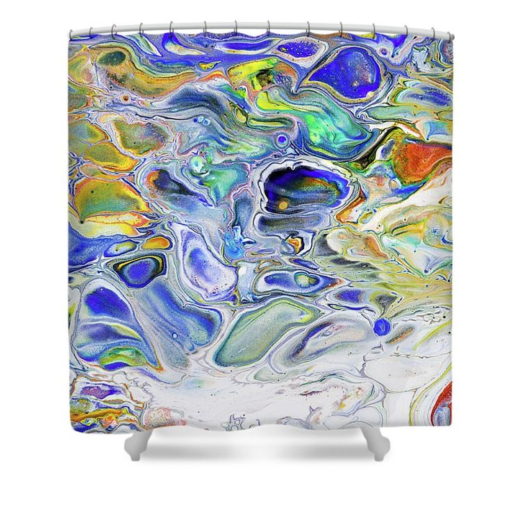 """Colorful Night Dreams 3. Abstract Fluid Acrylic Painting Shower Curtain by Jenny Rainbow.  This shower curtain is made from 100% polyester fabric and includes 12 holes at the top of the curtain for simple hanging.  The total dimensions of the shower curtain are 71"""" wide x 74"""" tall."""