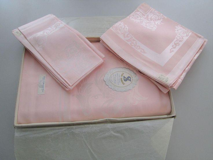 Pink Fine Damask Tablecloth Napkins Set NIB Banquet 66 x 106