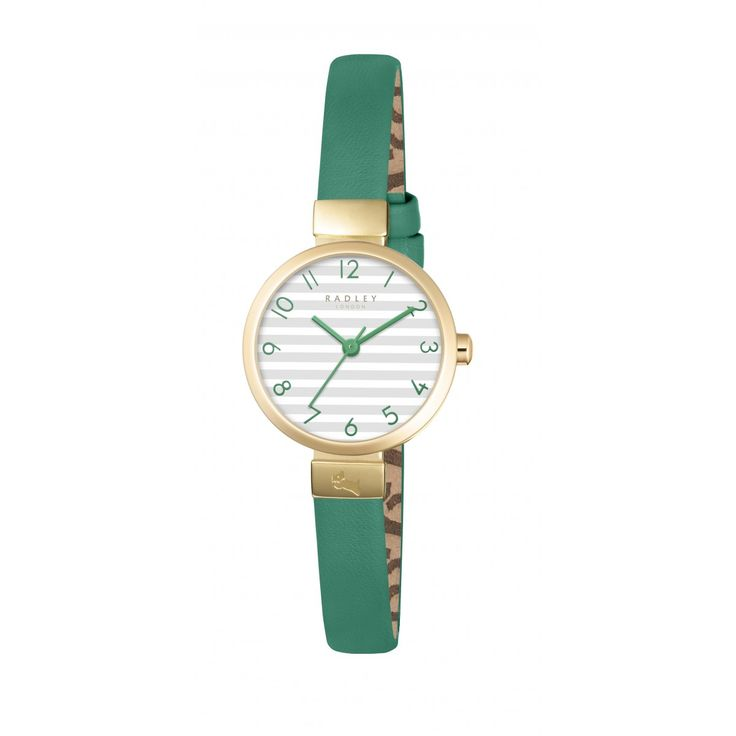 Beaufort Pale Gold Case Striped Leather Strap Watch > Buy Watches Online at Radley