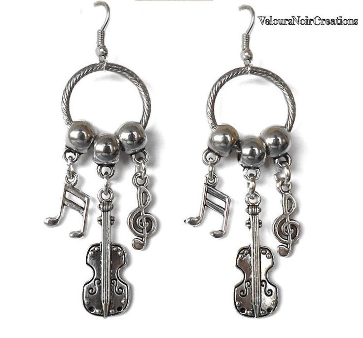 Earrings violin and musical notes , by Velours Noir Crèations, 9,50 € su misshobby.com