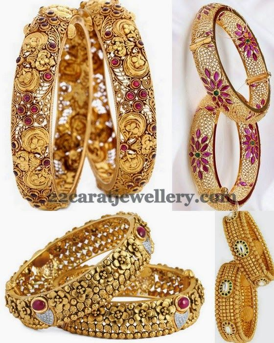 Jewellery Designs: Antique Floral Bangles with Stones