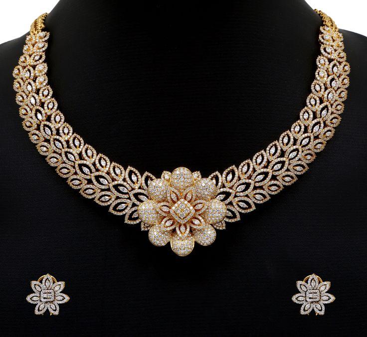 Diamond Necklace | Floral DIamond Necklace set
