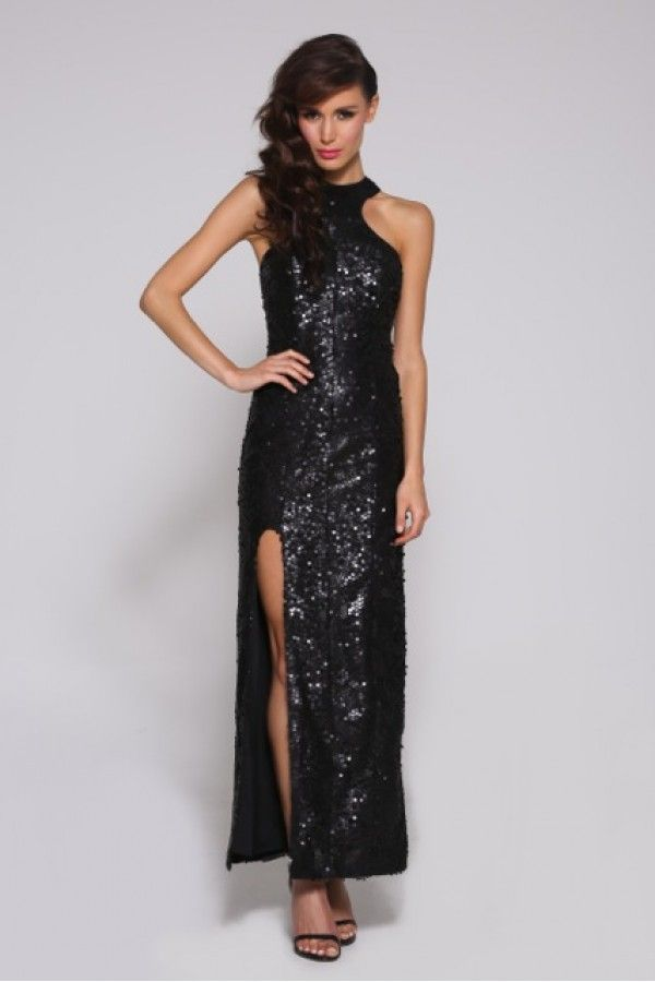 Heavy beaded gown featuring razor split.
