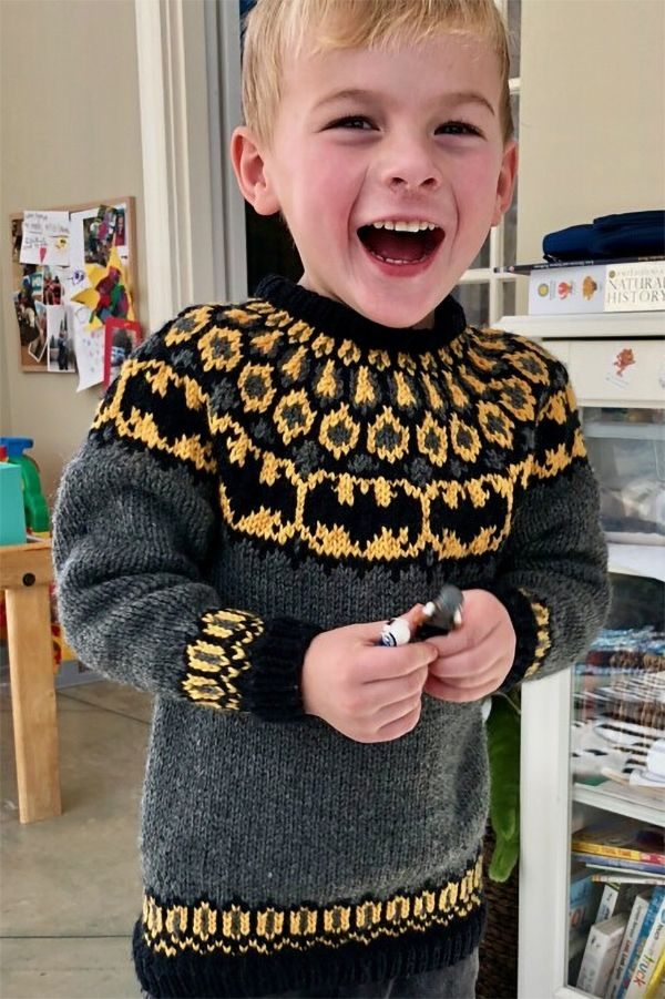Free Knitting Pattern for Batman Sweater - Child's pullover with Batman logos in Icelandic stranded colorwork on yoke. Designed by Lilja Sigurðardóttir. Available in English and Icelandic. Pictured project by Gaz