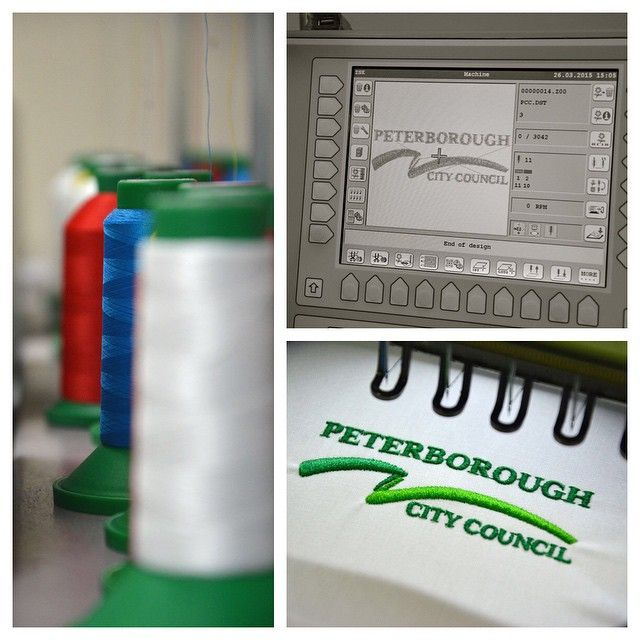 Mammoth Workwear offer the full professional process. We can take your media file logo and embroidery it upon your garment, using up to 16 colours. Please contact us for more details. This example is embroidery for Peterborough City Council.