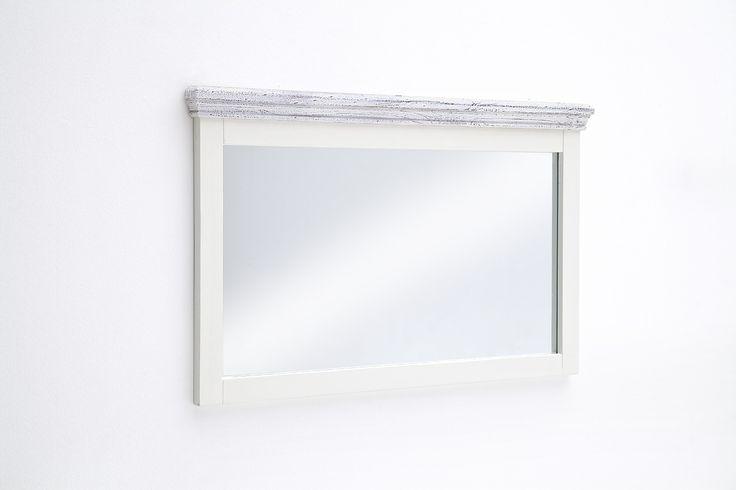 Wandspiegel Elsa I Massivholz / Kiefer weiß passend zum Möbelprogramm Elsa 1 x Wandspiegel / Garderobenspiegel Maße: B/H/T ca. 124 x 75 x 5 cm Aufbauart: aufgebaut... #flur #garderobe #spiegel