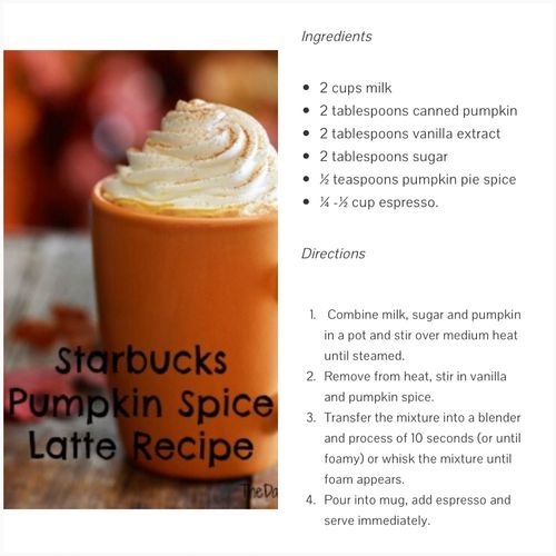 If you're like me then you miss that sweet pumpkin flavor of Starbucks Pumpkin Spice Latte. Well good for us that some people have the time to figure this stuff out