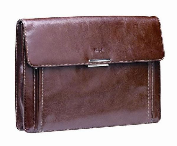 Euro  66980BRN  Leather A4 Folder Adpel Italian Leather Luxury Business Underarm Folder with padded computer compartment. Brand by Embossing. Dimensions: 385 × 270 × 50mm (L x H x W) Brown (also available in black)