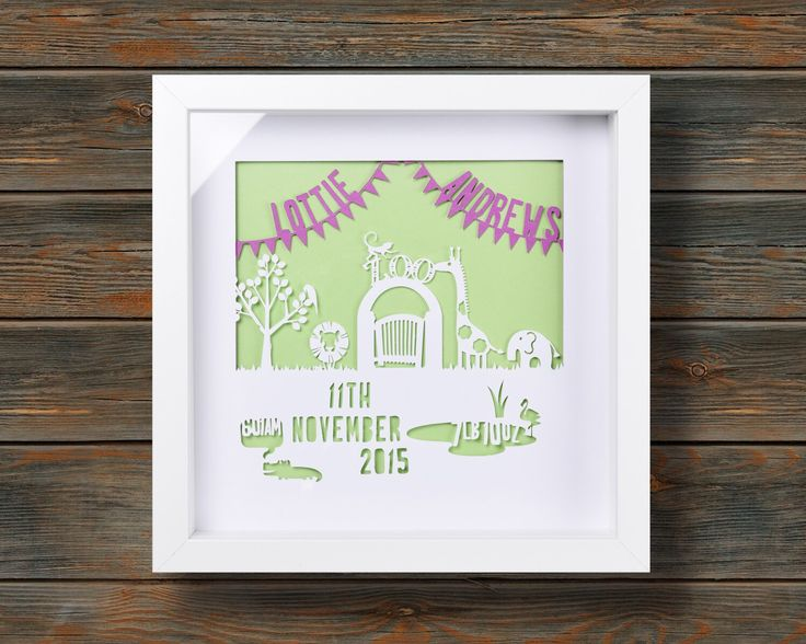 Zoo Animals - New Baby Birth Announcement - Framed personalised paper cut art (Small 25x25cm) by wallaceimagery on Etsy https://www.etsy.com/uk/listing/384687408/zoo-animals-new-baby-birth-announcement