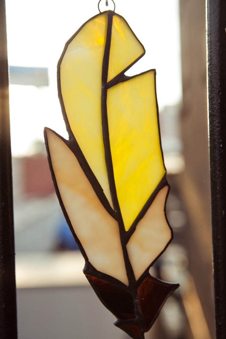 Yellow Stained glass feather