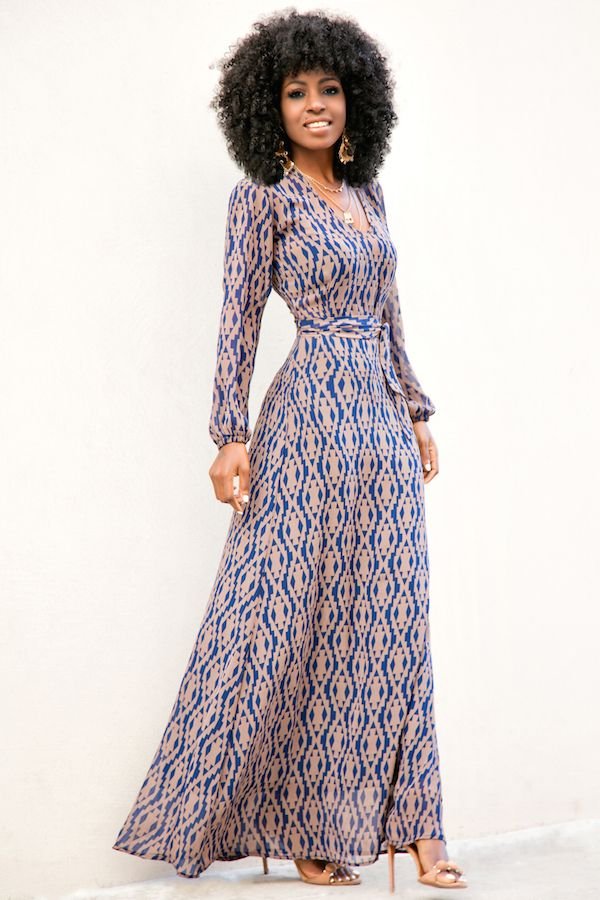 Aztec Print Long Sleeve Maxi Dress