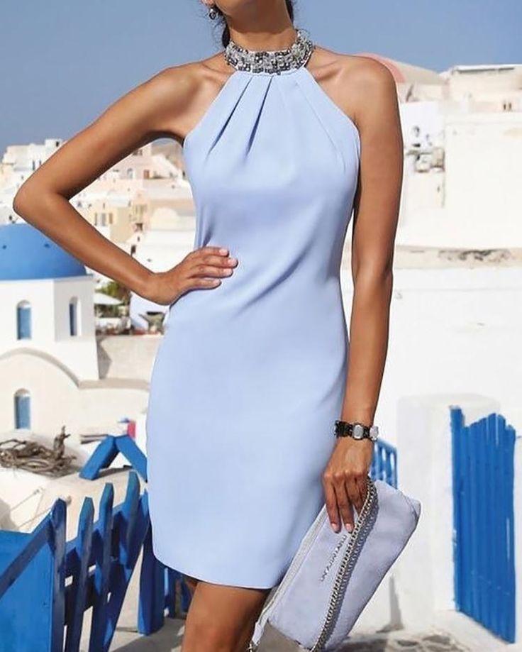 Halter Shiny Embellished Neck Ruched Mini Dress