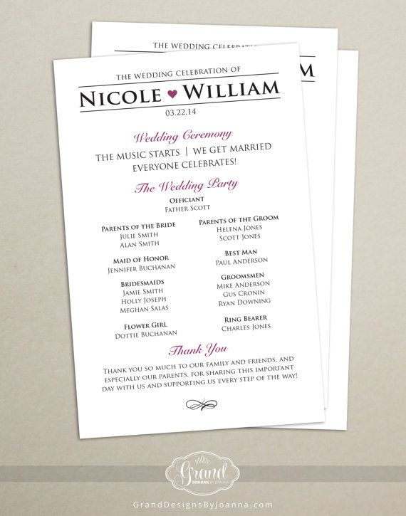 Modern Wedding Program Single Sided Flat Personalized Custom Colors