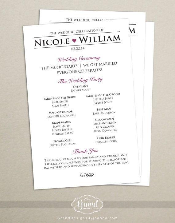 531 program template - 25 best ideas about modern wedding program on pinterest