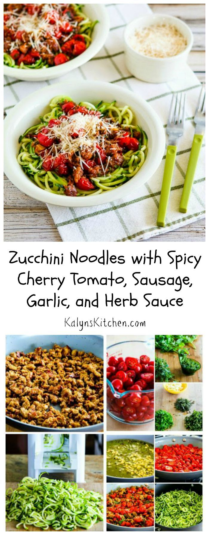 I've been making this Spicy Cherry Tomato, Sausage, Garlic, and Herb Sauce for years, and I love it with Zucchini Noodles! Great way to use cherry tomatoes when they explode in the garden, but this is also delicious with cherry tomatoes from the store. [from KalynsKitchen.com] #LowCarb #GlutenFree