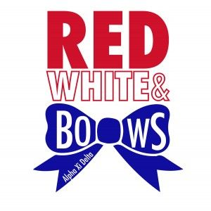 Awesome sorority recruitment t-shirt designs from SororityBliss.com! Red White & Bows, Patriotic, Alpha Xi Delta!