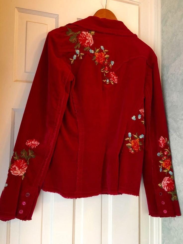 Johnny Was Los Angeles JWLA Large L Red Jacket Floral Blazer   eBay
