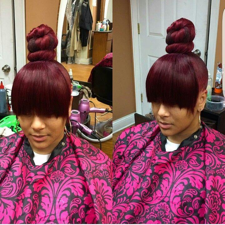 30 Burgandy Hairstyles Ponytail Bang Hairstyles Ideas Walk The
