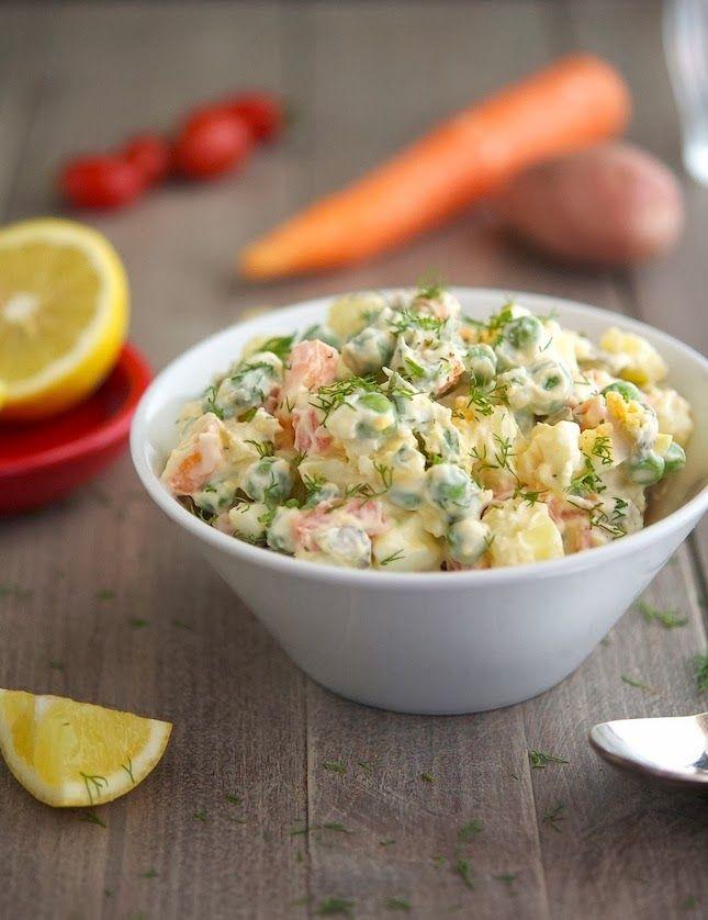 Svetlana's Russian Salad - potato salad with eggs and carrots and pickles
