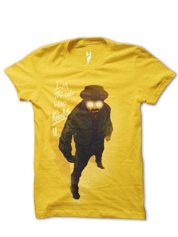 """Who Knocks? from XTEAS  Breaking Bad Series Inspired Tee  Trivia - Lead actor Bryan Cranston stated in an interview that the term """"breaking bad"""" is a southern colloquialism and it means when someone who has taken a turn off the path of the straight and narrow, when they've gone wrong. And that could be for that day or for a lifetime.  Printed on 100% Organic Cotton, XTEAS Premium T-Shirt."""