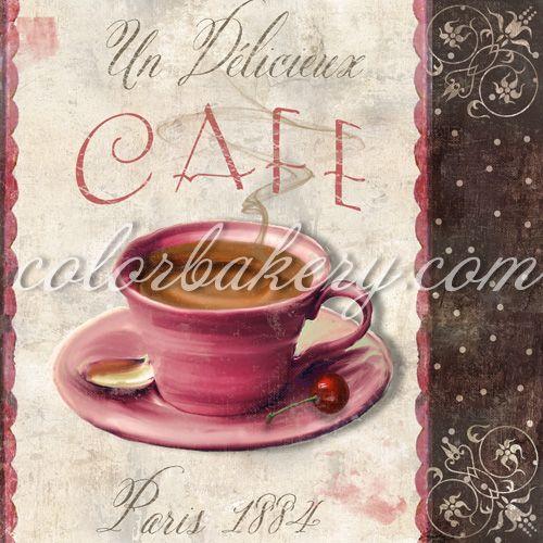 Bakery art | Vintage Paris Bakery Chocolates Coffee Original Art |