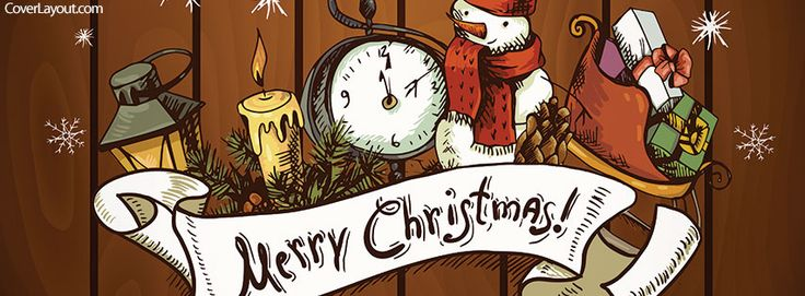 Merry Christmas Clock Snowman Facebook Cover coverlayout ...