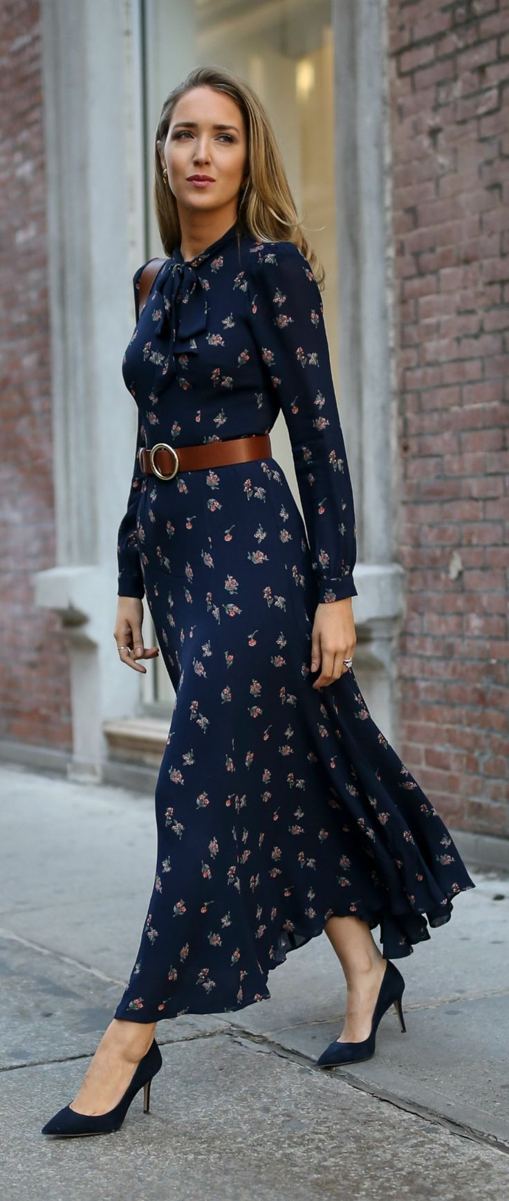 Navy floral tie-neck maxi dress with navy suede stiletto pumps, a brown leather circle waist belt and a brown leather cross body bag {Reformation, Jimmy Choo, Frame, Ralph Lauren, Chanel, what to wear to meet the parents, classic style, classy dressing, f