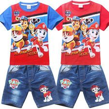 New Paw Patrol Clothing Kids Boys Outfits Sets T shirts Tops + Jeans Shorts