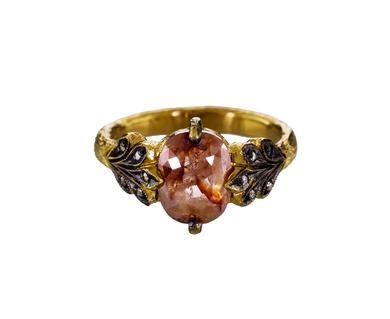 Cathy Waterman | Rustic Diamond Oak Leafside Ring in Designers Cathy Waterman One-of-a-Kind at TWISTonline