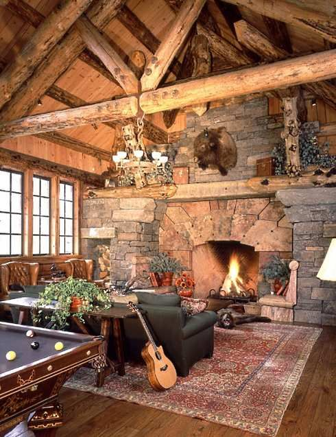 Love the big fireplace and rustic cabin look. I am loving this whole room! And billards, now we are talking good times.