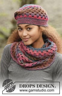 """In Treble - Set consists of: Crochet DROPS hat and neck warmer with dc-groups in """"Big Delight"""". - Free pattern by DROPS Design"""