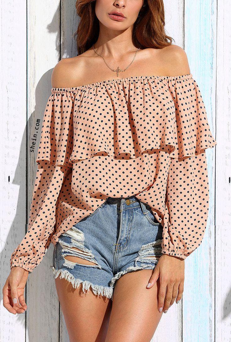 Pink Polka Dot Ruffle Off The Shoulder Blouse