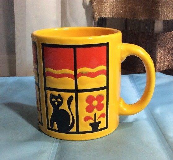 Vintage Waechtersbach Mug Yellow With Cat & Flower Pot In Window Red Sky Germany #Waechtersbach