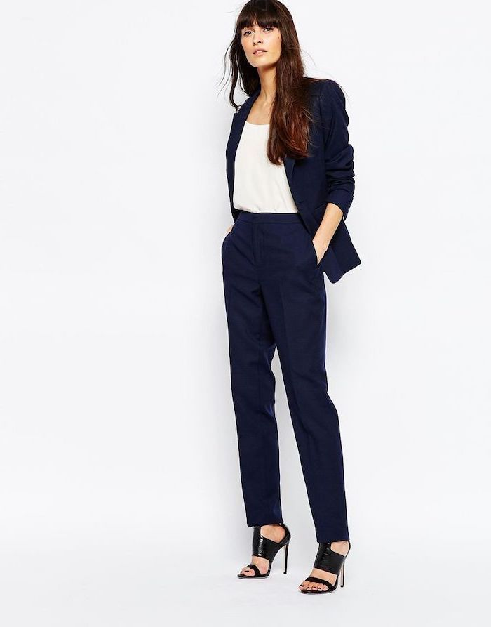 1bdd1b855c 85 Casual Attire Ideas For The Business Ladies Your Everyday Style. navy  blue trousers and blazer, white top, black open toe shoes, work clothes for  women