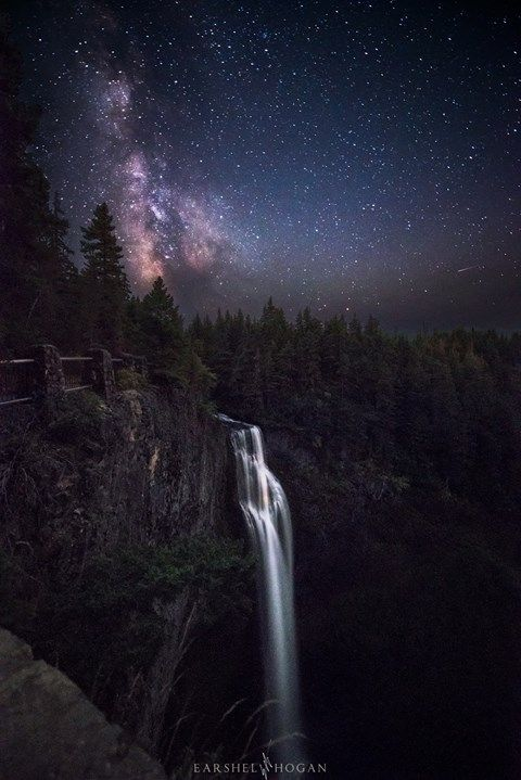 Milky Way rising over Salt Creek Falls Oregon