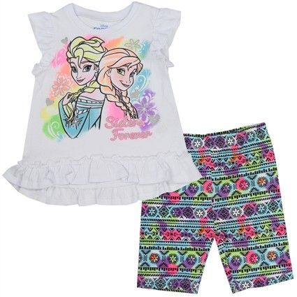 Disney Frozen Anna Elsa Short Set With White Shirt And Colorful Biker Shorts Sizes 2T ShortGirl ShortsKids