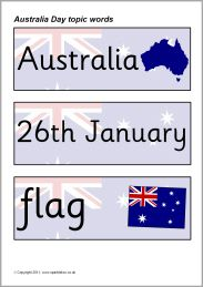 Australia Day topic word cards (SB3723) - SparkleBox